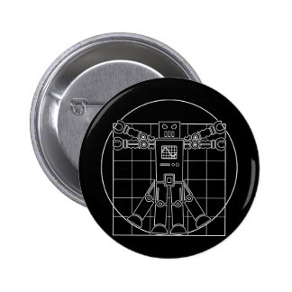 Da Vinci Vitruvian Robot 6 Cm Round Badge
