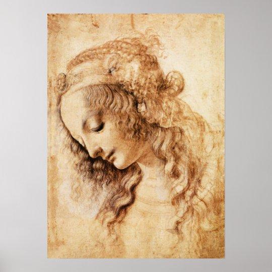 Da Vinci Woman's Head Poster