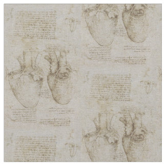 Da Vinci's Human Heart Anatomy Sketches Fabric