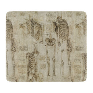 Da Vinci's Human Skeleton Anatomy Sketches Cutting Board