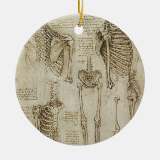 Da Vinci's Human Skeleton Anatomy Sketches Round Ceramic Decoration