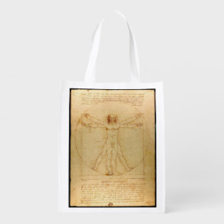 Da Vinci's Vitruvian Man Reusable Grocery Bag