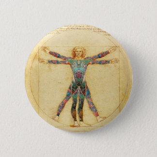 Da Vinci's Vitruvian man with tattoos 6 Cm Round Badge