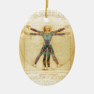 Da Vinci's Vitruvian man with tattoos Christmas Ornament