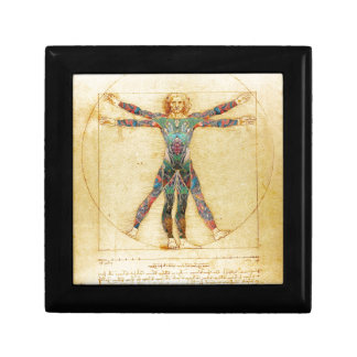 Da Vinci's Vitruvian man with tattoos Small Square Gift Box