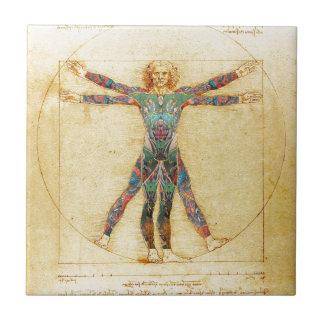 Da Vinci's Vitruvian man with tattoos Small Square Tile