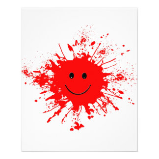 dab-93947 BRIGHT RED HAPPY FACE SPLATTERS dab, PAI 11.5 Cm X 14 Cm Flyer
