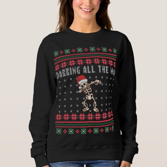 Dabbing All the Way Santa Skeleton Ugly Christmas