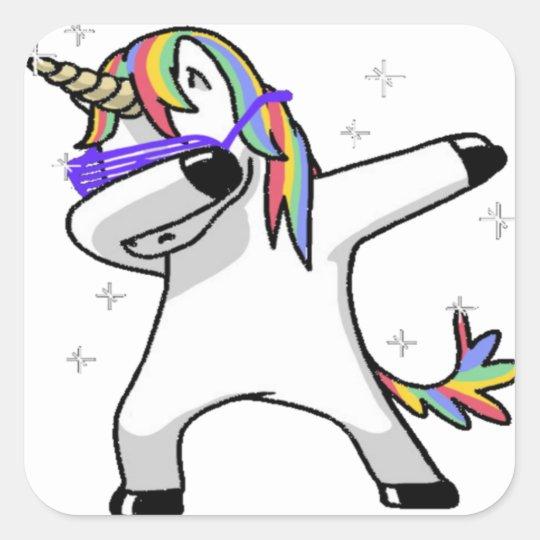 Dabbing Unicorn Square Sticker