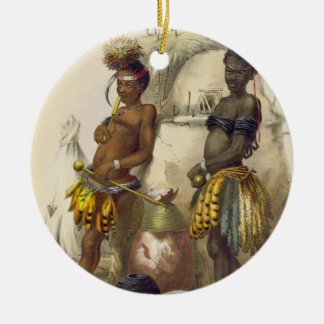 Dabiyaki and Upapazi, Zulu Boys in Dancing Dress, Round Ceramic Decoration