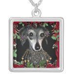 Dachshound Weiner Dog Square Pendant Necklace