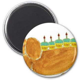 Dachshund 10 Cupcakes 6 Cm Round Magnet