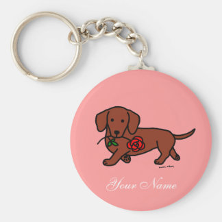 Dachshund and a flower cartoon basic round button key ring