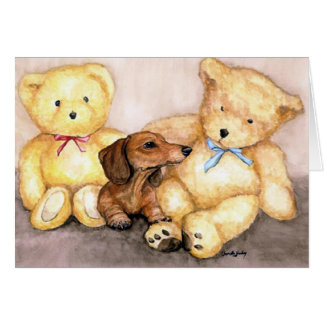 """Dachshund and Bear Friends"" Dog Art Notecard"