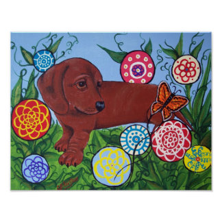 Dachshund and Butterfly Art Print