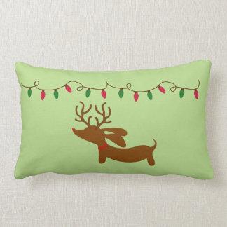 Dachshund and Christmas Tree Lights Lumbar Cushion