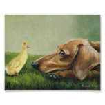 """Dachshund and Duckling"" Dog Art Canvas Print"