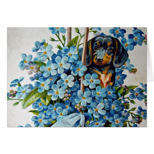 Dachshund and Forget-Me-Nots Card