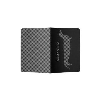 Dachshund and Plaid on Black Passport Holder