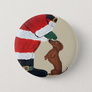 Dachshund And Santa 6 Cm Round Badge