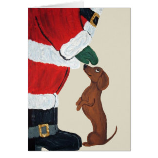 Dachshund And Santa Card