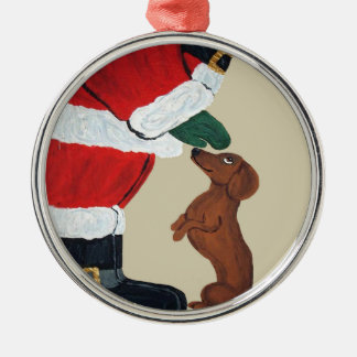 Dachshund And Santa Christmas Ornament