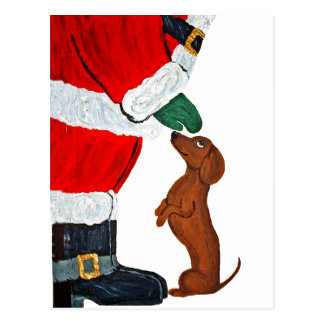 Dachshund And Santa Postcard