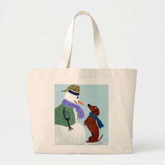 Dachshund And Snowman Bag