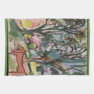 Dachshund and Trees Tea Towel