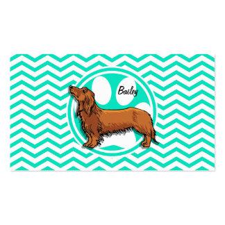 Dachshund Aqua Green Chevron Business Card