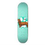 Dachshund; Aqua Green Chevron Skate Boards