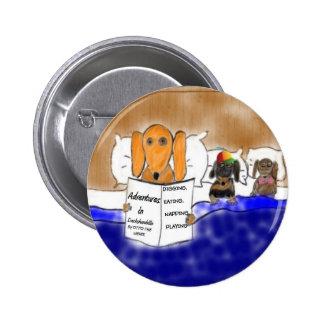 Dachshund Bedtime Story 6 Cm Round Badge
