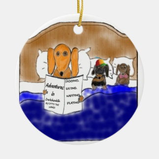 Dachshund Bedtime Story Christmas Ornament