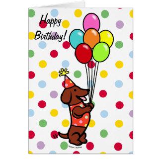Dachshund Birthday Cartoon Balloons Cards