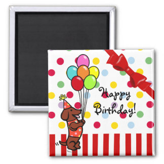 Dachshund Birthday Cartoon Balloons Square Magnet
