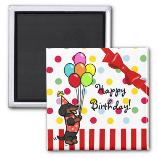 Dachshund Birthday Cartoon Balloons Magnet
