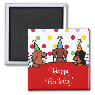 Dachshund Birthday Cartoon Square Magnet
