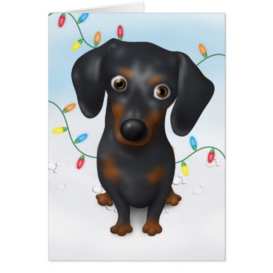 Dachshund (Black and Tan) Christmas Card