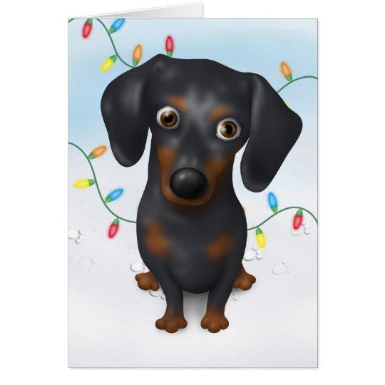 Dachshund (Black and Tan) Christmas Greeting Card