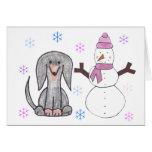Dachshund Black & Snowman Card
