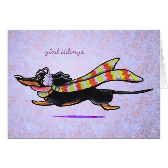 Dachshund Black/Tan Winter Glad Tidings Custom Card