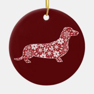 Dachshund, Boho Christmas Snowflakes Round Ceramic Decoration