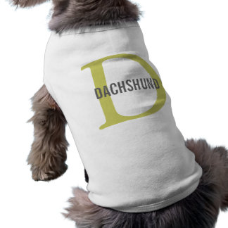Dachshund Breed Monogram Design Sleeveless Dog Shirt