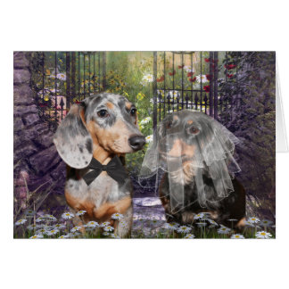 Dachshund bride and groom greeting card