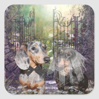 Dachshund bride and groom square sticker