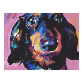dachshund Bright Colorful Pop Dog Art Postcard