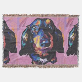 dachshund Bright Colorful Pop Dog Art Throw Blanket