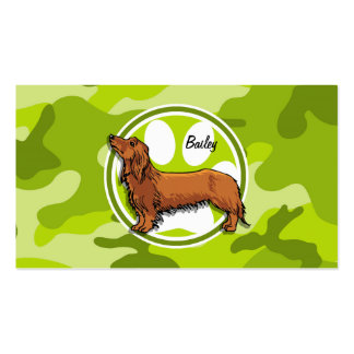 Dachshund bright green camo camouflage business cards