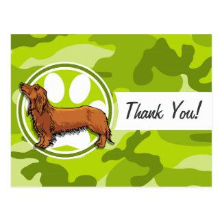 Dachshund; bright green camo, camouflage postcard