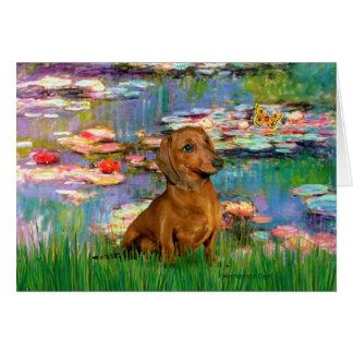 Dachshund (brown1) - Lilies 2 Greeting Card